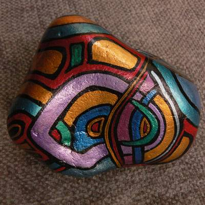Labyrinth Luna - Hand-Painted Stone: back