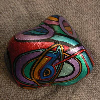 Labyrinth Luna - Hand-Painted Stone: front