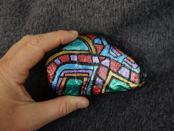 Granite Arrowseed - view 2 - Hand Painted Stone